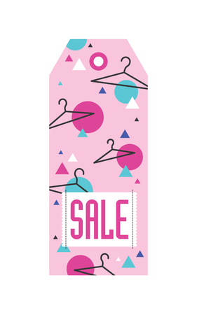 clothing rack: Sale tag with hangers and geometric pattern. Vector