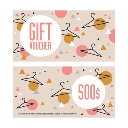 Gift voucher template. Both sides. Envelope size. 500 dollars value