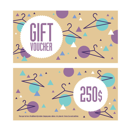 Gift voucher template. Both sides. Envelope size. 250 dollars value