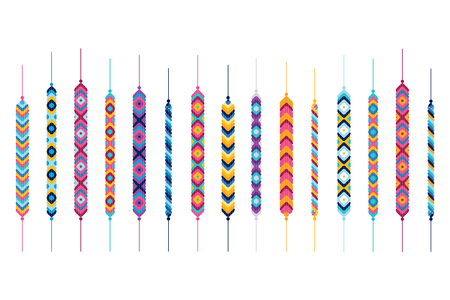 Conjunto de pulseras de la amistad hippy. Multicolor vector de illlustration