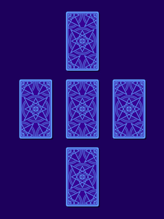 diviner: Simple cross tarot spread. Tarot cards back side, vector Stock Photo