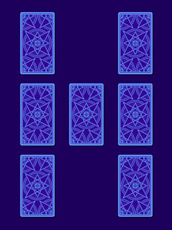 diviner: Relationship tarot spread. Tarot cards back side, vector