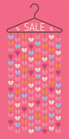 clothing rack: Hanger with hanging hearts. Sale discount banner. Vector