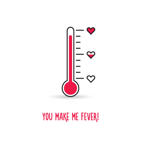 rising temperature: Love thermometer. You make me fever card. Vector Stock Photo