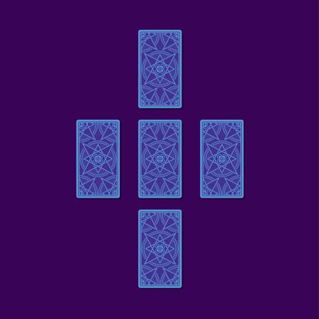 Simple cross tarot spread. Tarot cards back side. Stock Photo