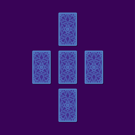 diviner: Simple cross tarot spread. Tarot cards back side. Stock Photo