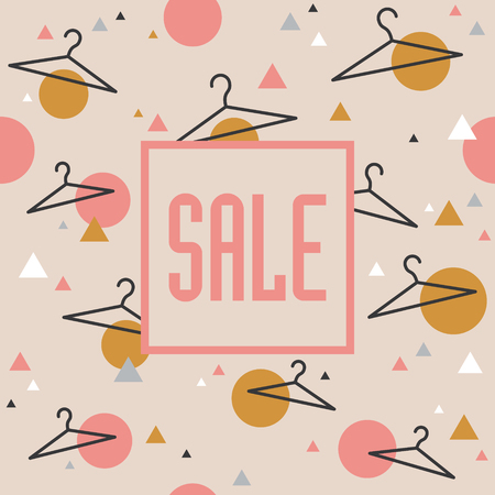 selling service: Geometric sale background with hangers. Banner Stock Photo