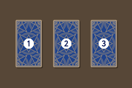 triplet: Three card tarot spread. Reverse side 1, 2, 3 numbers