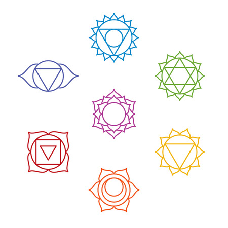 swadhisthana: Set of seven chakra symbols. Yoga, meditation. Vector Stock Photo