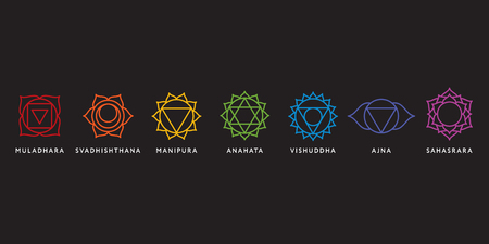 swadhisthana: Set of seven chakra symbols with names, vector Stock Photo