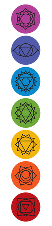 Set of seven chakra symbols. Yoga, meditation. Vector Stock Photo