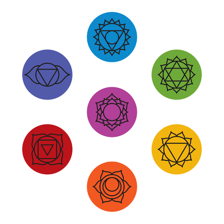 swadhisthana: Set of seven chakra symbols. Yoga, meditation.
