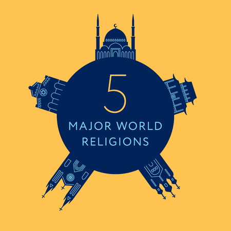 Temples of world different religions. Infographics. Religious buildings. Travel and landmarks Illustration