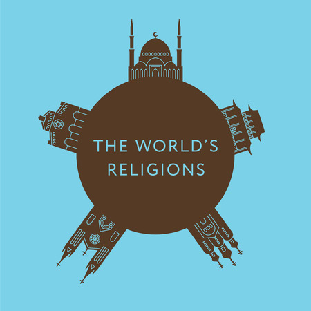 Temples of world different religions. Infographics. Religious buildings. Travel and landmarks Stock Photo