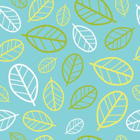 Green leaves seamless pattern. Springtime. Vector
