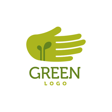 tendance: Hand with green sprouts logo. Charity, ecology, environment, care concept vector Stock Photo