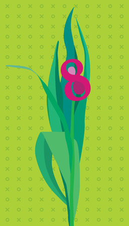 mart: Greeting card with flower shaping number 8