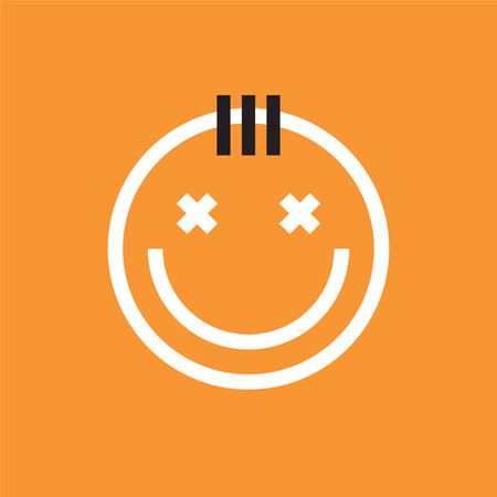 Smiling face icon with forelock. Smiley, emoji vector Illustration