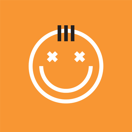 Smiling face icon with forelock. Smiley, emoji vector Stock Photo