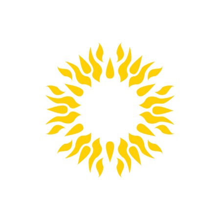 Yellow sun icon. Mandala, tattoo vector