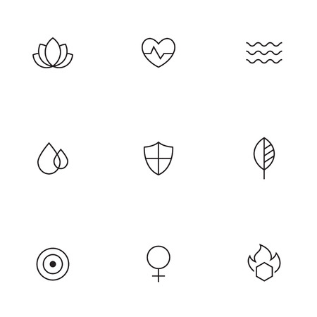 femine: Outline icons spa, beauty, relaxing. Massage, bath oil cosmetic elements