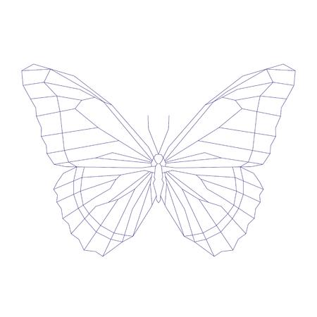 Geometric linear butterfly. Vector illustration