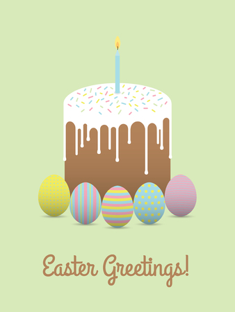 Painted eggs with easter cake. Easter greeting card Illustration