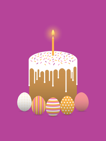 Decorated eggs and easter cake with candle
