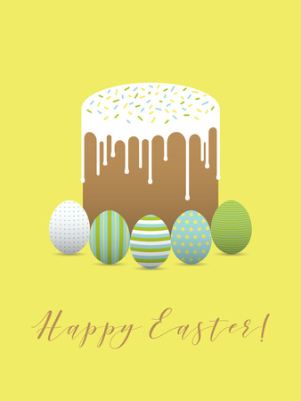 hapy: Decorated easter eggs with easter cake. Hapy easter greeting card Illustration