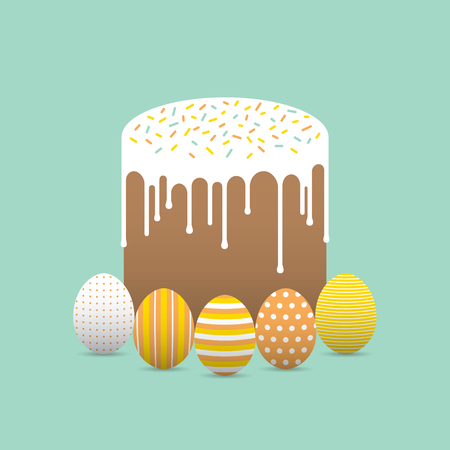 Decorated easter eggs with easter cake Stock Photo