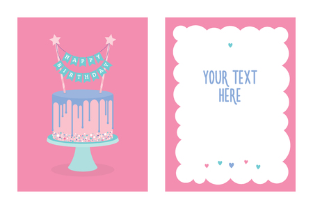 topper: Happy birthday greeting card with cake and decoration. Vector. Place for your text