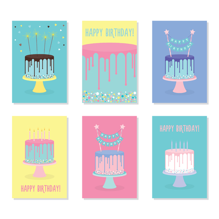 Set of birthday greeting cards with decorated cakes. Vector illustration