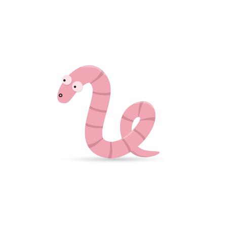 creep: Cute funny worm with emotion on his face isolated on white background