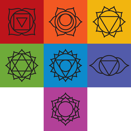 prana: Set of seven chakra symbols, vector