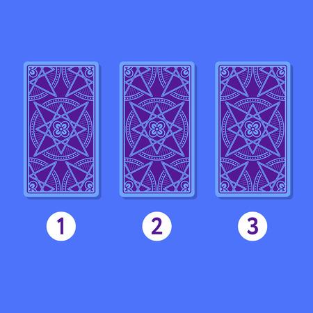 diviner: Three card tarot spread. Reverse side. Number 1, 2, 3. Vector illustration