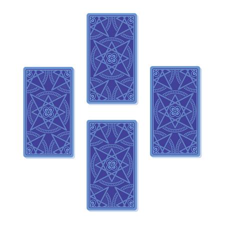 diviner: Four tarot card spread. Reverse side. Vector illustration