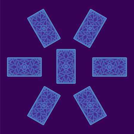 reverse: Tarot card spread. Reverse side. Vector illustration Stock Photo
