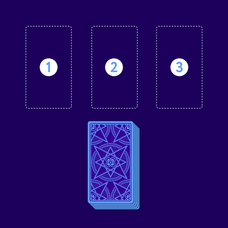 diviner: Template for three tarot card spread with deck. Reverse side. Place for three cards. Vector illustration Stock Photo
