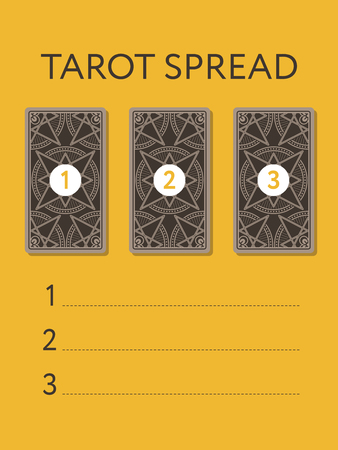 Template for three tarot card spread. Reverse side. Place for your questions. Vector illustration