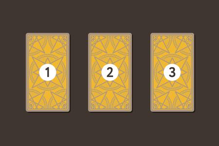 Three tarot card spread. Reverse side. Number 1, 2, 3. Vector illustration Stock Photo