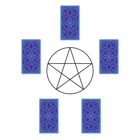 Five tarot card spread with pentagram. Reverse side. Vector illustration Stock Photo