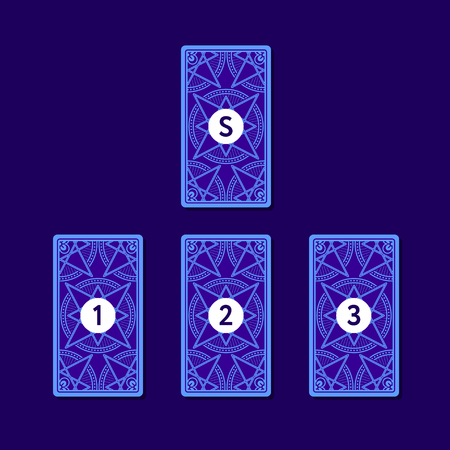 Three tarot card spread. Reverse side. Number 1, 2, 3 and significator. Vector illustration