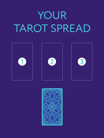 diviner: Template for your three tarot card spread. Reverse side. Place for three cards. Vector illustration Stock Photo