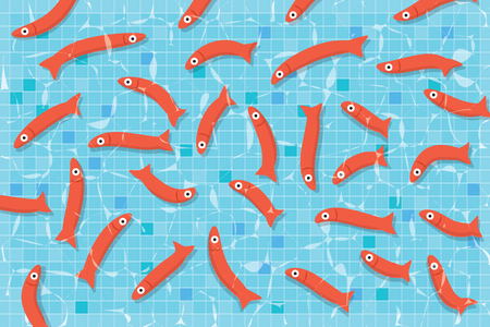 Many red small fishes swimming in pool with clear water Illustration
