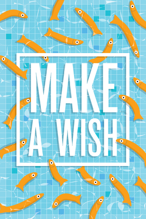 wading: Make a wish poster with many golden small fishes swimming in pool with clear water