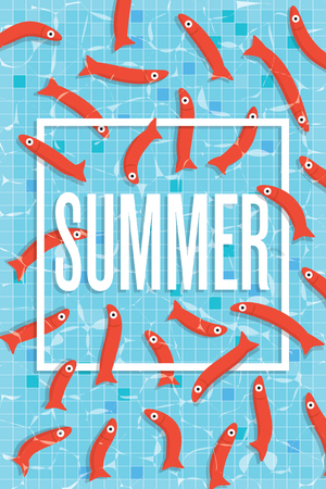 wading: Summer poster with many red small fishes swimming in pool with clear water. Aquarium