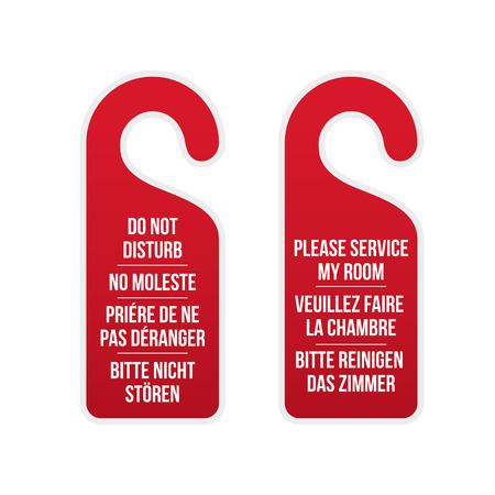 Do not disturb and please service my room door hotel signs. Different laguages. Door hanger. Classic design