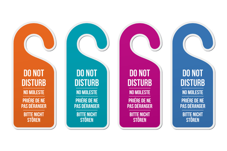 silent: Do not disturb door hotel signs. Different languages and colors. Door hanger. Classic design