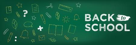 Back to school banner. Chalk drawing on school blackboard. School education icons. Learning concept