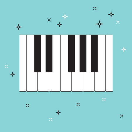 re do: Piano keyboard top view. Musical flat background. Vector illustration